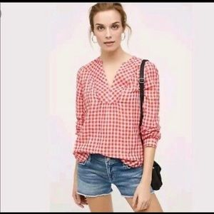 Anthropologie Holding Horses red gingham popover